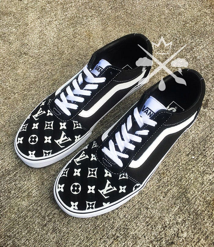 Black Louis Vuitton Luxury Designer Brand Custom Old Skool Vans Classics Sneaker Gallery Photo