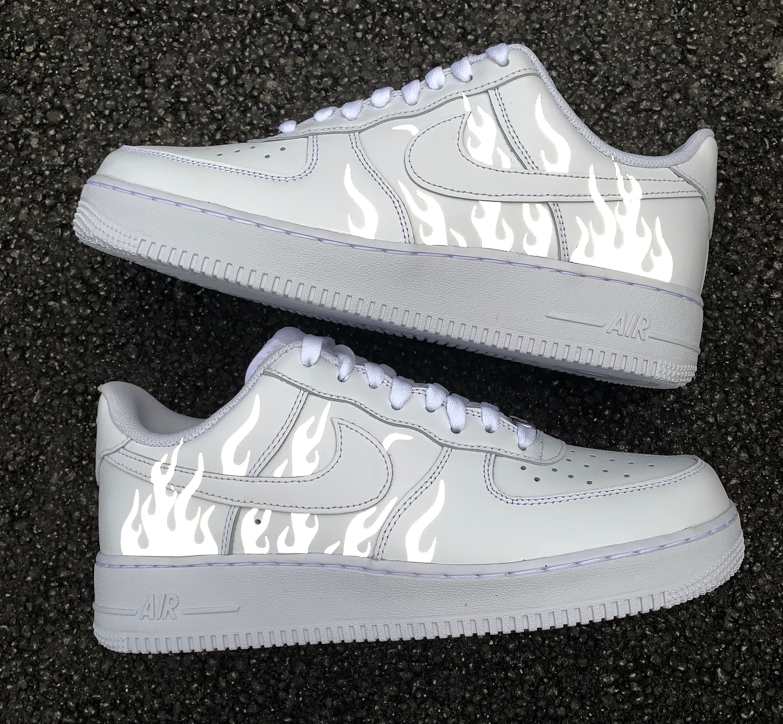 Reflective Flames White Nike Air Force 1 | Custom Air Force 1s One | 3m Reflective Fire Sneaker | Custom AF1 | Reflective Shoes