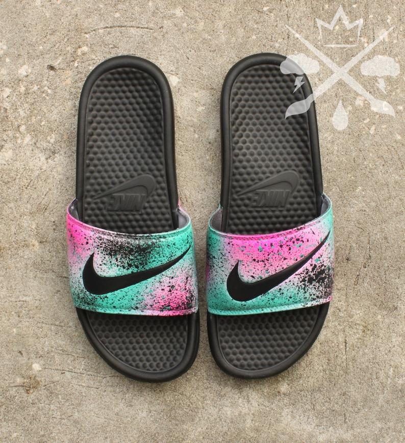 huge discount fd5e0 47210 Nike Custom LeBron 8 Miami Nights Benassi Swoosh Slide Sandals   Etsy