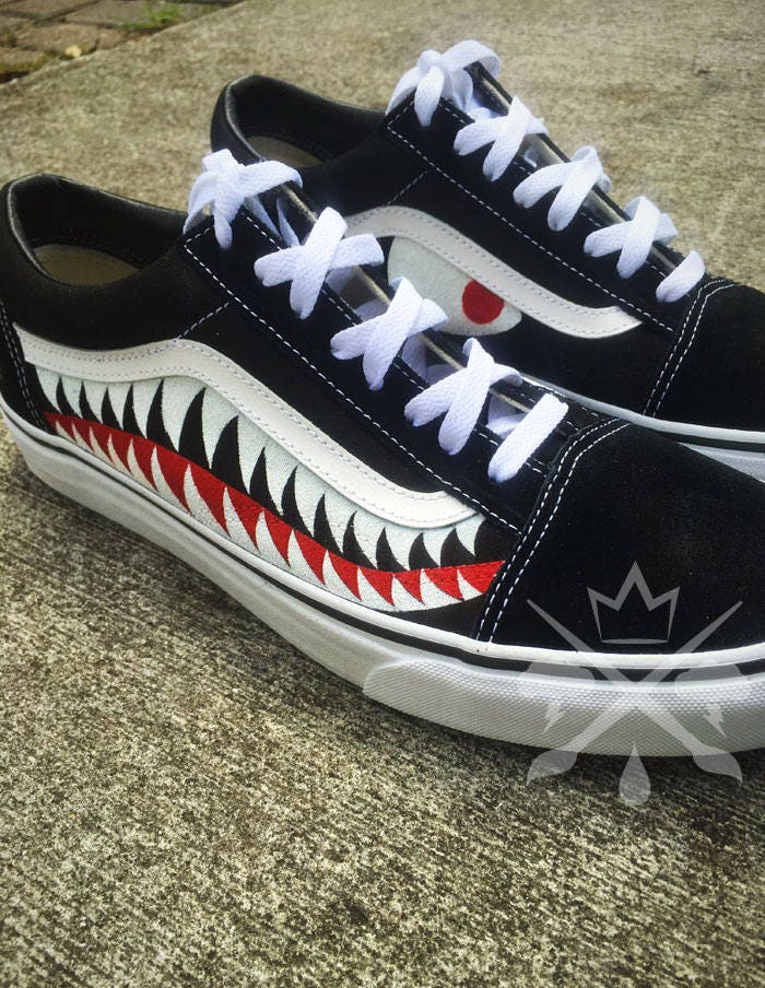 11760317a09e84 Bape Shark Teeth Black A Bathing Ape Old Skool Custom Vans Classic Sneaker.  gallery photo gallery photo