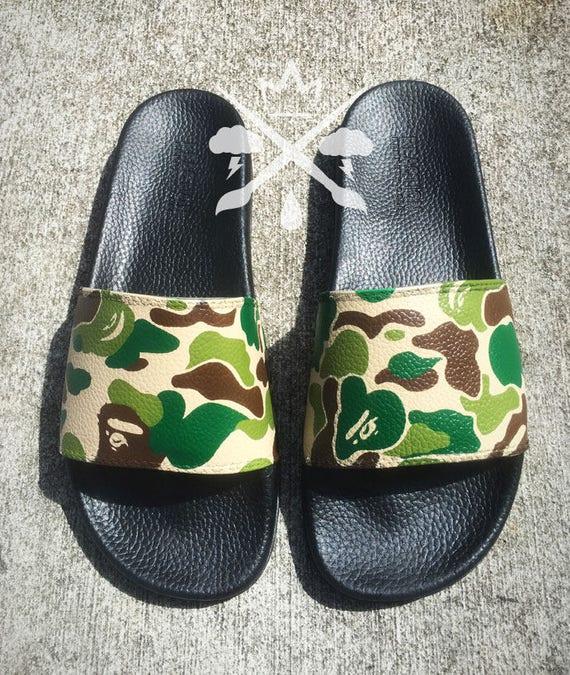 7aae202de9 Bape Camo A Bathing Ape Camouflage Custom Slides Sandals Flip   Etsy