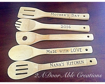 Bamboo kitchen utensils - Engraved Wooden Utensils - Personalized Mother's Day gift