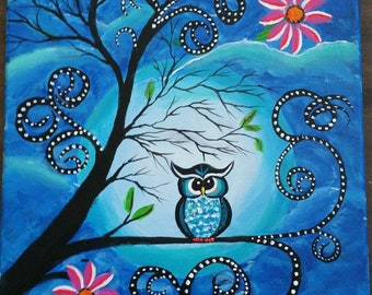 Owl in a Tree 11 x 14 Painting on Stretched Canvas, Original Art
