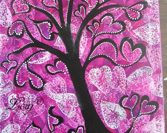 Abstract Art Modern Art Funky Pink Heart Tree Painting 16 x 20 Acrylic on Stretched Canvas