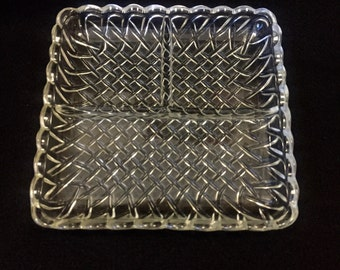 Clear Glass Relish Dish **FREE SHIPPING**