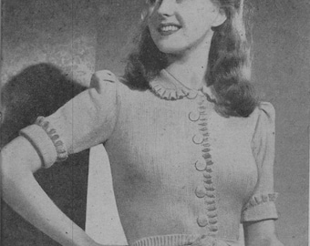 PATTERN Knitting Pattern, Knitted Top Pattern, Collar,Frills,Short or long sleeve,Bust 32/34 inch, Instant Download, VINTAGE KNITTING, 1940s