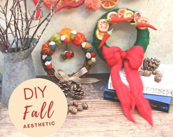 Autumn wreath needle felting pattern - Autumn home decor - Fall decor - Fall aesthetic - Fall crafts - Needle felting for beginners
