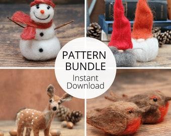 Christmas Needle Felting Pattern Bundle - Nordic Gnome, Robin, Deer And Snowman Needle Felting PDF Pattern - Christmas Crafts