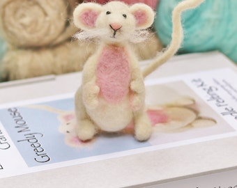 Mouse needle felting kit for beginners, No sewing craft kit, Ships worldwide, Unlock your creativity and be inspired. Just add enthusiasm!