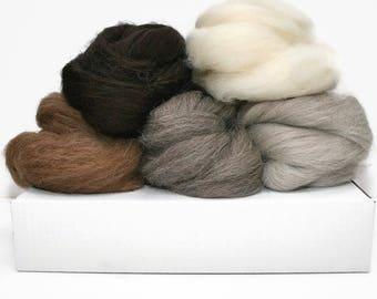 Large needle felting kit bundle with needle felting accessories and instruction booklet, 250g undyed wool roving