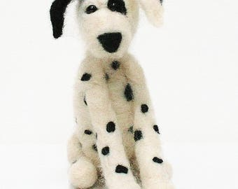 Dog felt kit - Dalmatian felting kit for beginners - dog felting kit - puppy felting kit