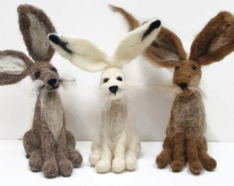 2 Hare needle felting kits for beginners, Hare needle felting starter kits, Animal felting kit