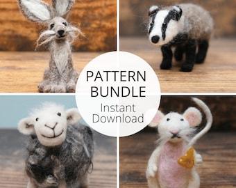 Needle Felting Pattern Bundle Plus Free Bonus Pattern - Hare, Badger, Herdwick Sheep And Mouse Needle Felting Pattern