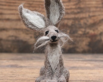 Printable Felting Pattern, instant PDF download - Hare needle felting pattern - Needle felting tutorial for beginners