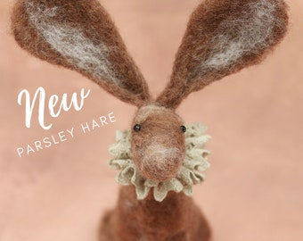 Hare needle felting pattern plus video tutorials - Parsley needle felted hare with a touch of whimsy and a dash of folk art