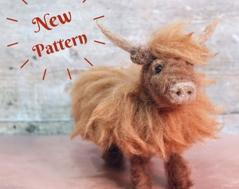 Highland Cow Needle Felting Pattern plus video tutorial - Great Highland cow gift idea!