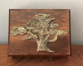 Trinket Box Jewelry Storage Wooden Brass Boho Decor Art Vintage Oak Tree Lover Gift for Her 70s Wood Decor 1970s