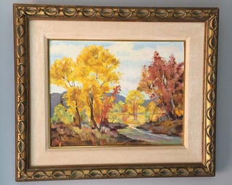 Vintage Landscape Painting Original Framed Oil Painting Large Autumn Fall Leaves Sky Gold Leaves