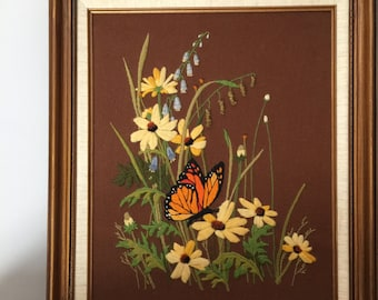 Framed Crewel Large Embroidered Wall Art 1970 70s Decor Butterfly Art Monarch Butterfly Print Daisy Daisies Flowers Floral Brown Orange