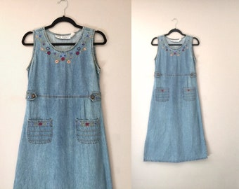 f443fb8494f Denim Dress Jumper Women Pockets Vintage 90s 1990 Dresses Embroidered  Sleeveless Small Light Wash Petite Buttons Cotton