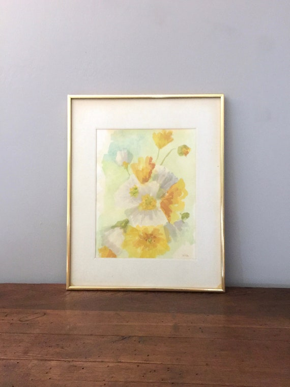 Original Watercolor Painting Flowers Framed Large Signed | Etsy