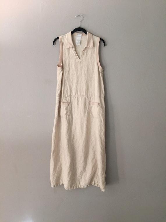 90s Laura Ashley Linen Maxi Dress Market Pockets … - image 3