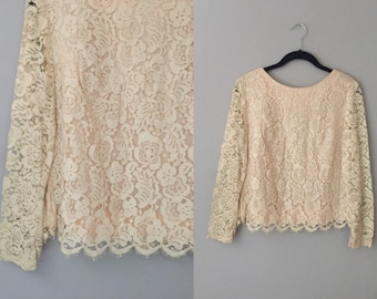 Cream Lace Blouse Small - Vintage 60s Off White Lace Top - Lace Blouse For Women - Long Sleeves Boho Lace Top