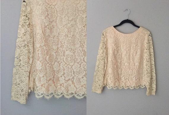 80d66d3c051d88 Cream Lace Blouse Small Vintage 60s Off White Lace Top