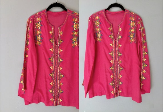 13c9913ea44 Embroidered Tunic Top Indian Boho Long Sleeves Small Cotton   Etsy