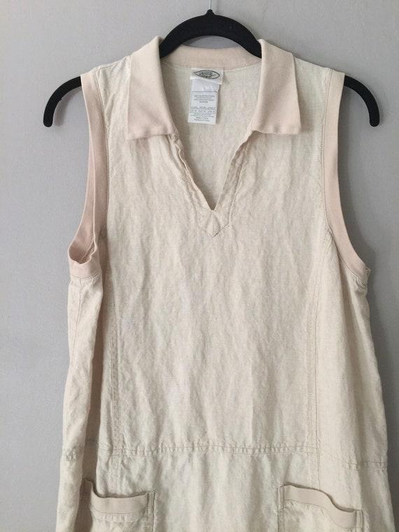 90s Laura Ashley Linen Maxi Dress Market Pockets … - image 9