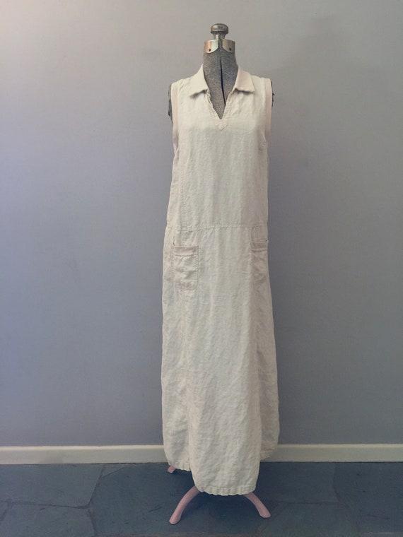 90s Laura Ashley Linen Maxi Dress Market Pockets … - image 7