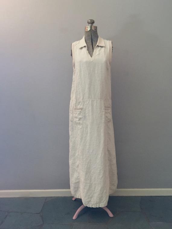 90s Laura Ashley Linen Maxi Dress Market Pockets … - image 10