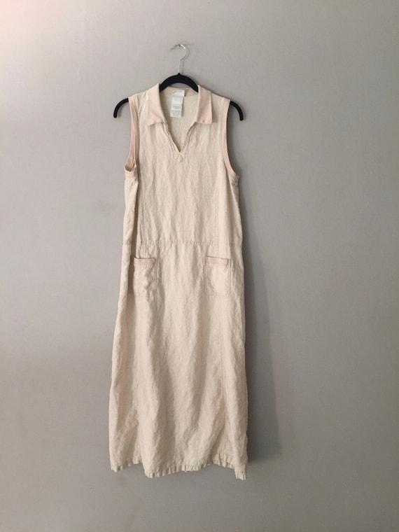 90s Laura Ashley Linen Maxi Dress Market Pockets … - image 1