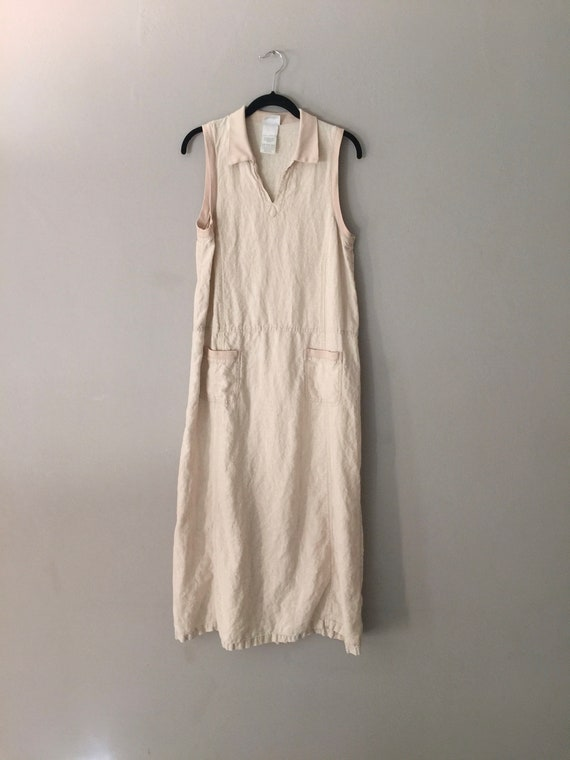 90s Laura Ashley Linen Maxi Dress Market Pockets … - image 5