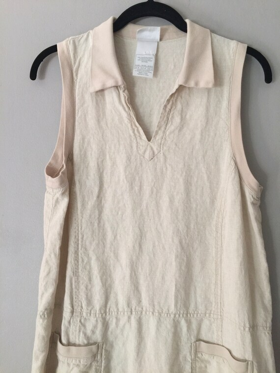 90s Laura Ashley Linen Maxi Dress Market Pockets … - image 8