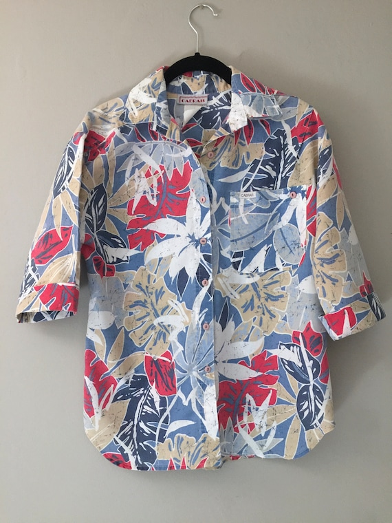 RED CARNATIONS blouse new old stock blouse botanical cropped blouse