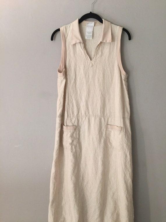 90s Laura Ashley Linen Maxi Dress Market Pockets … - image 2