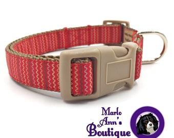Dog Collar / Fall Dog Collar / Autumn Dog Collar / Red Dog Collar / Tan / Waves / Adjustable Dog Collar / Dog Collar and Leash / Brown
