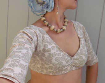 Grey and Cream Floral Choli Belly Dance top Eco costume upcyled ATS ITS small/medium- 3/4 sleeve Dance top Burning Man festival