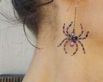 Purple Spider Earrings Dark Purple Medium Small Beaded Spider Halloween Witch Goth Jewelry Creepy Crawly spiders Pegan jewelry