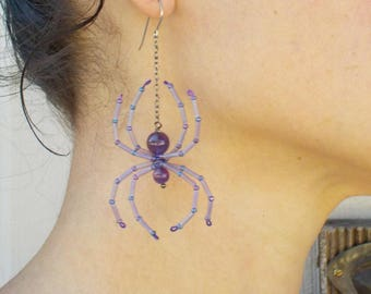 Amethyst Purple Spider Earrings Medium size Beaded Spider Halloween Witch Goth Jewelry Creepy Crawly Beautiful spiders