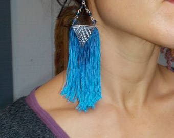 Blue Long Fringe Earrings - Bohemian-Shoulder dusters - Up-cycled aluminum - Tribal Fusion Bellydance Jewelry- art deco - hand crafted