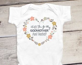 Will You Be My Godmother Onesie® Customized Name Personalized Baby Baptism Onesie® Godmother Shirt Baby Dedication