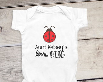 Aunt uncle stylish littles personalized aunt onesie aunts love bug custom gift for aunt cute baby negle Images