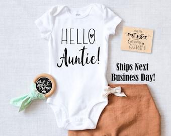 f4afee3168692 Hello Auntie Newborn Baby Onesie®, Pregnancy Announcement Hipster Baby  Bodysuit, Surprise Baby Reveal Gift for Sister Aunt Tia Best Friend