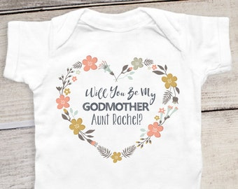 c99b32156 Will You Be My Godmother Onesie® Customized Name Personalized Baby Baptism  Onesie® Godmother Shirt Baby Dedication