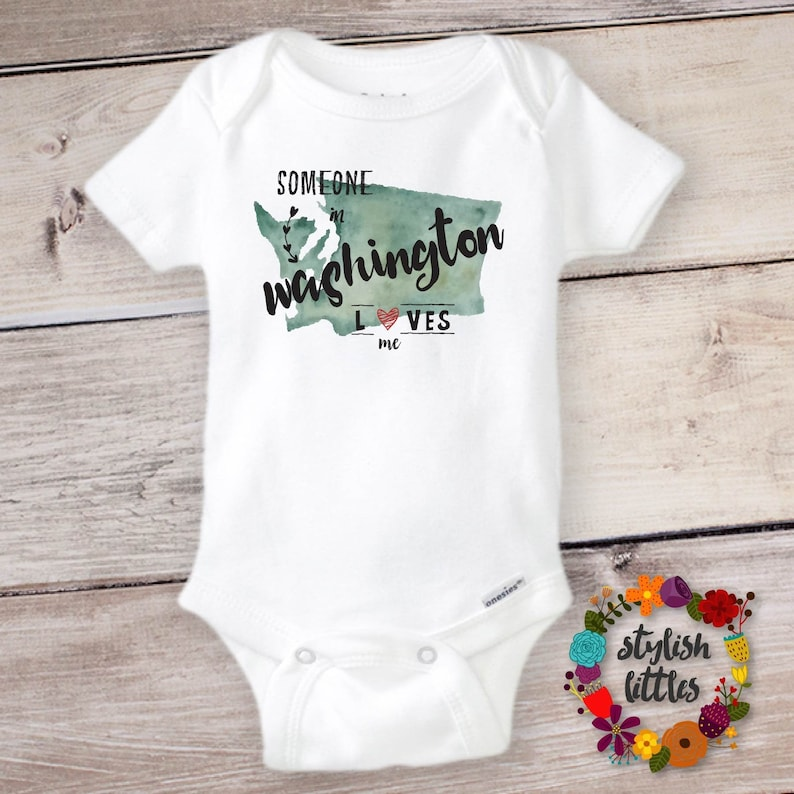 Someone in WASHINGTON Loves Me Cute Funny Baby Onesie \u00ae and Kids Shirt The Evergreen State Onesie Baby Shower and Kids Birthday Gift