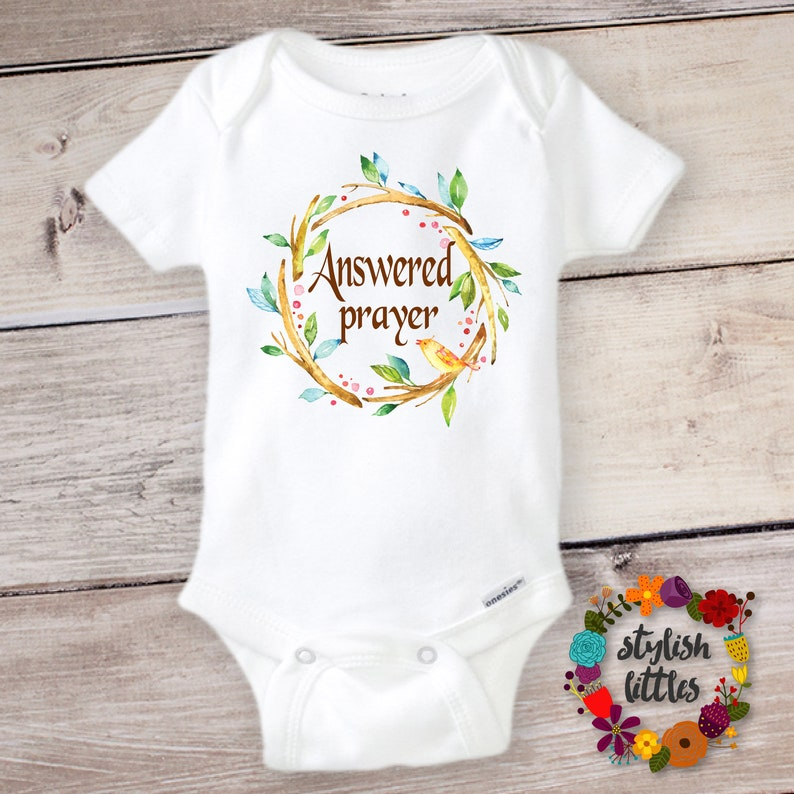 fb23b1c05 Answered Prayer Onesie ® Baby Reveal to Parents Grandparents | Etsy