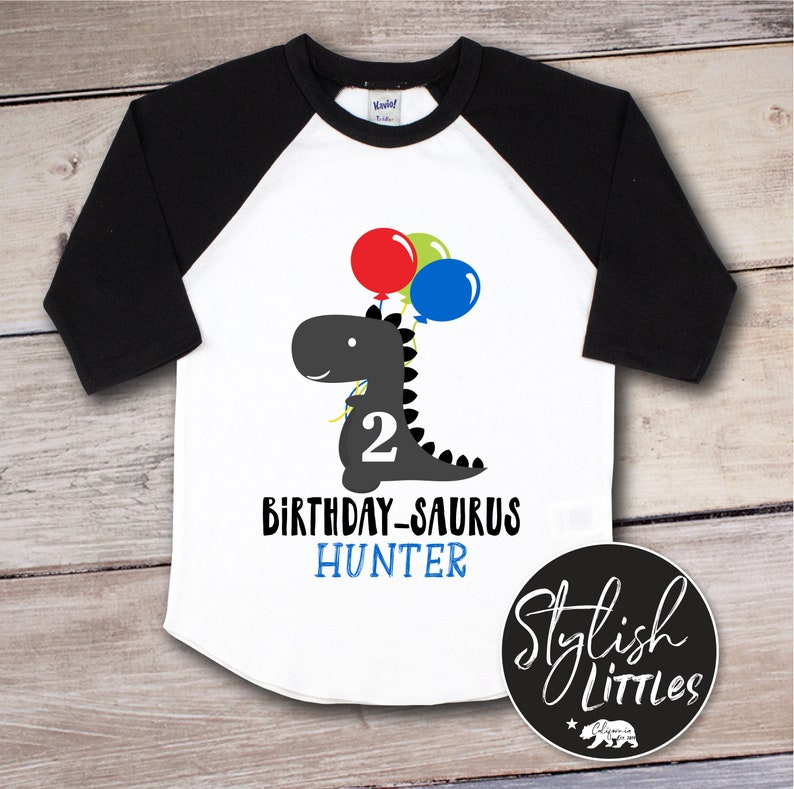 590254079 Personalized Dinosaur Birthday-Saurus Balloons Unisex Raglan | Etsy