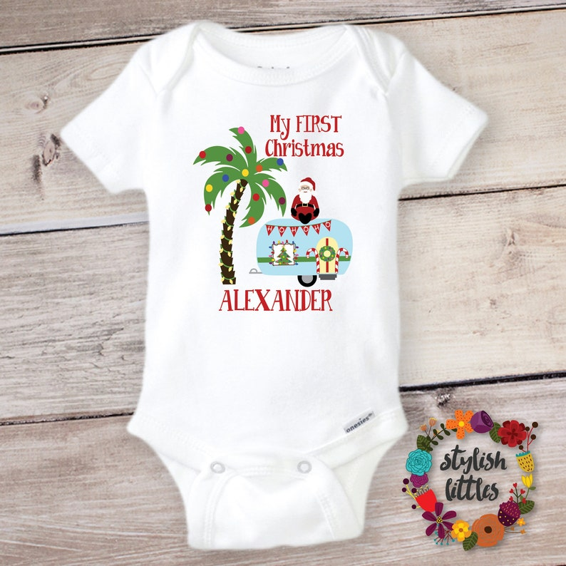 c461faddf05b Personalized First Merry Christmas Baby Onesie ® a tropical